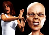 picture of festering  - Women who is scared stiff of a zombie - JPG