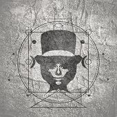Mystical Geometry Symbol With Woman Wearing Top Hat And Spectacles. Linear Alchemy, Occult, Philosop poster