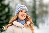 people, season and leisure concept - portrait of happy smiling woman outdoors in winter poster