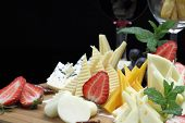 pic of italian food  - Various types of cheese on a cheese platter - JPG