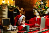 Buy Christmas Gifts Online. Christmas Shopping Concept. Gifts Service. Little Genius. Santa Little H poster