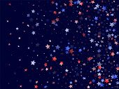 American Memorial Day Stars Background. Holiday Confetti In Us Flag Colors For Patriot Day. Solemn R poster