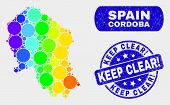 Spectrum Spotted Cordoba Spanish Province Map And Seal Stamps. Blue Round Keep Clear Exclamation Gru poster