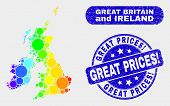 Spectrum Dot Great Britain And Ireland Map And Seal Stamps. Blue Rounded Great Prices Exclamation Gr poster