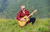 In Unison With Nature. Keep Calm And Play Guitar. Man With Guitar On Top Of Mountain. Acoustic Music poster