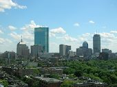 stock photo of prudential center  - Looking out over Beacon Hill towards the Back Bay skyline - JPG