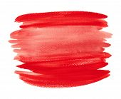 Bright Red Watercolor Shape Isolated On White Background. Horizontal Hand Drawn Red Liquid Ink Color poster