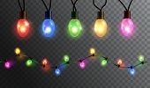 Vector Realistic Glowing Colorful Christmas Lights In Seamless Pattern And Individual Hanging Light  poster