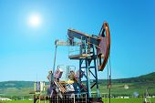 Oil Pumpjack, Industrial Equipment. Rocking Machines For Power Generation. Extraction Of Oil. Oil We poster