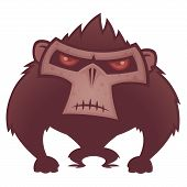 foto of vicious  - Vector cartoon illustration of an angry ape with red eyes - JPG