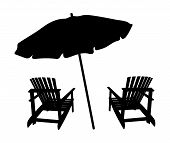 Two Lounge Chairs Under An Umbrella On The Beach. Black And White Illustration Of Lounges Under A Ca poster