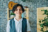 Portrait Of Attractive Teenage Boy Smiling Looking At Camera Standing Alone At Home Feeling Happy An poster