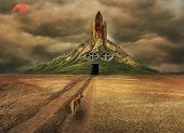 Apocalyptic Landscape Of A Spaceship On A Mountain And A Walking Dog On Arid Terrain. poster