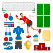 Table Tennis Sportsman Games Icon Set. Flat Design Ping Pong Athlete. Ping Pong Eyuipment Set For Co poster