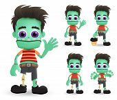 Zombie Halloween Vector Characters Set. Scary Zombie Halloween Monster Character Creature Standing A poster