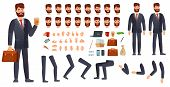 Cartoon Businessman Character Kit. Business Characters Constructor, Different Hands Gestures, Face E poster