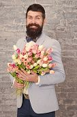 Womens Day. Flower For March 8. Love Date. International Holiday. Bearded Man With Tulip Bouquet. Sp poster