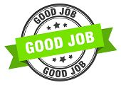 Good Job Label. Good Job Green Band Sign. Good Job poster