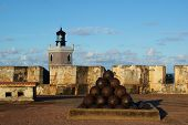 image of cannonball  - Fort of El Morrow Cannonballs and Lighthouse - JPG