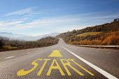 Start Line On Road. New Life, Freedom And Perspectives poster