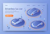 Driverless Lux Car Banner, People Visiting Show Room Exhibition With Unmanned Auto Transport. Autono poster