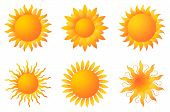 Sun Or Sunshine Vector With Beams On A White Isolated Background. In Different Yellow And Orange Col poster