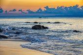 Idyllic Sunset Over Indian Ocean In Masoala National Park, Sunset Landscape, Madagascar Paradise Lan poster
