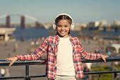 Enjoy Music Everywhere. Best Music Apps That Deserve A Listen. Girl Child Listen Music Outdoors With poster