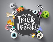 Halloween Trick Or Treat Greeting Vector Background Template. Halloween Trick Or Treat Text In Black poster