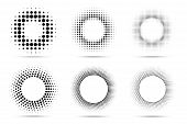 Halftone Circular Dotted Frames Set. Circle Dots Isolated On The White Background. Logo Design Eleme poster