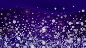 Xmas Sales With Ultraviolet Snowflakes. New Year Backdrop. Snow Frame For Gift Coupons, Vouchers, Ad poster