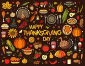 Colorful Hand Drawn Vector Doodle Set Of Thanksgiving. Various Symbols And Objects: Pumpkin, Turkey, poster