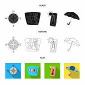 Isolated Object Of Weather And Climate Sign. Set Of Weather And Cloud Stock Symbol For Web. poster