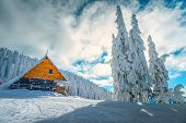 The Best Famous Winter Ski Resort In Romania. Stunning Touristic And Winter Vacation Place. Snowy Pi poster