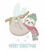 Christmas Sloth In Winter Mint Hat, Pink Scarf. Cute Baby Animal. Merry Xmas Cartoon Poster With Hap poster
