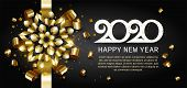Happy New Year, Gold. Greeting Card With 2020 With Christmas Ball. Background, Banner, Poster. Vecto poster