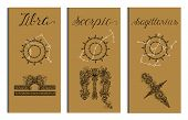 Poster With Libra, Scorpio, Sagittarius Zodiac Sign And Constellation. Collection Of Astrological Sy poster