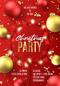 Promo Flyer For Christmas Party. Holiday Poster With Realistic Christmas Red And Golden Balls, Golde poster