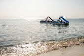 Two Catamaran On The Water. Pedal Boat At Sea . Summer Vacation. poster