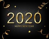 2020 Golden Vector Luxury Text Happy New Year. Happy New Year 2020 - New Year Shining Background Wit poster