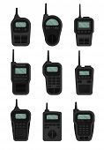 Set Of Black Walkie-talkies With Antenna. Vector Illustration. poster