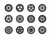 Wheels Car. Tire Shapes Transport Wheels Silhouettes Vector Vehicle Symbols Collection. Illustration poster