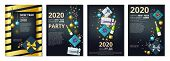 New Year Party Banners. 2020 Year Eve Invitation Templates. Vector Festive Cards With Gifts, Confett poster