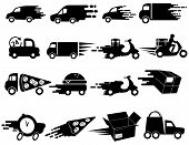 Delivery Icons Set. Collection Of Black And White Icons With Urgent Delivery. Vector Illustration Of poster