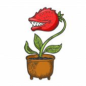 Cartoon Flower With Teeth Sketch Engraving Vector Illustration. Tee Shirt Apparel Print Design. Scra poster