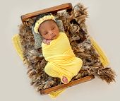 Pretty African newborn baby swaddled in yellow diaper lying in cradle poster