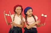 Dreams Come True. Happy Childhood. Shopping Concept. Child Cute Small Girls On Shopping Tour. Pick G poster