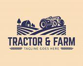 Tractor Logo Template, Farm Logo Vector poster
