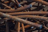Industrial Background. Rebar Texture. Old Rusty Rebar For Concrete Pouring. Steel Reinforcement Bars poster
