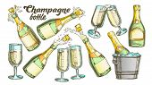 Champagne Bottle And Glass Color Set Vector. Collection Of Sparkling Winery Alcoholic Champagne And  poster